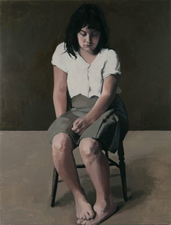 Girl with bare legs and white blouse