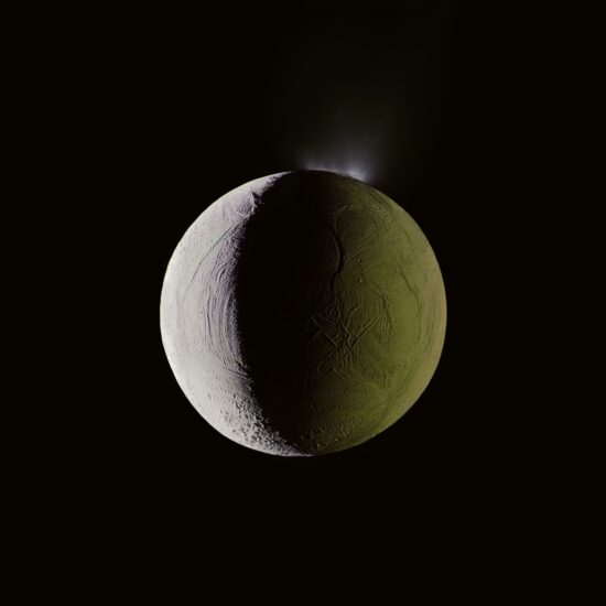Enceladus Geysers Water into Space, Cassini, December 25, 2009
