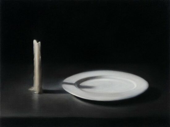 Extinguished Candle With Plate