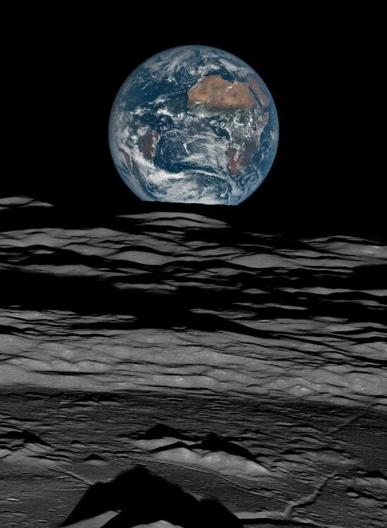 Earth over the Lunar Horizon, Lunar Reconnaissance Orbiter, 12 October, 2015