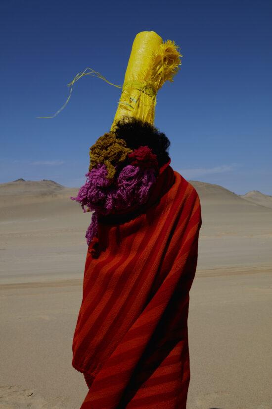 Manta, Ccochinilla Dyed Yarn, Polypropylene Sack, Body in Paracas