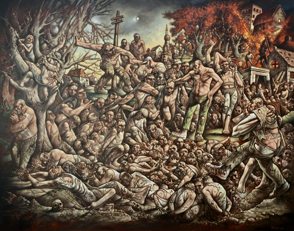 Peter Howson 'The Massacre of Srebrenica' unveiled at the St Mungo Museum of Religious Life and Art in Glasgow