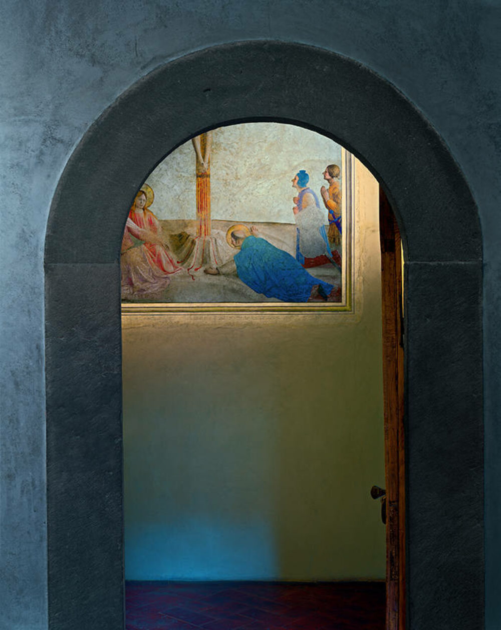 Crucifixion with Saint Dominic prostrate on the floor, by Fra Angelico, Museum of San Marco Convent, Florence, Italy